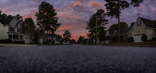 sunrise landscape morning dawn canon 2020 wintervillenc northcarolina fall autumn sky clouds road asphalt street panorama photomerge