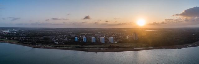 Weston shore sunrise pano.