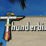 Tue, 2020-10-06 08:53 - This was the find of the trip. This huge neon sign for the Thunderbird Resort towers over the entrance.