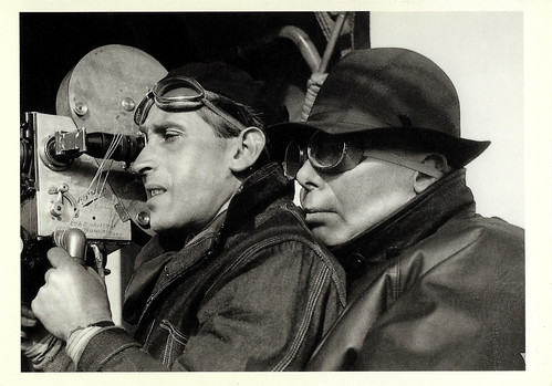 Jean Renoir at the set of La bête humaine (1938)