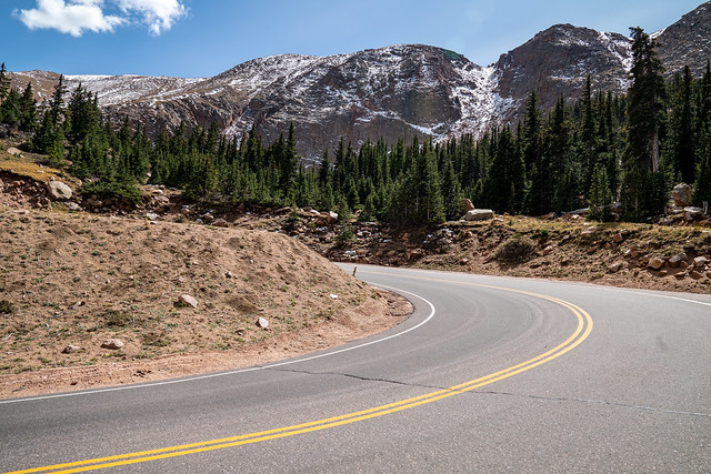 Road leading to Pikes Peak, a 14,000 foot elevation mountain summit in Colorado, known as Americas Mountain