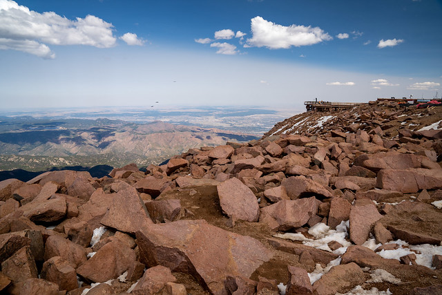 Summit of Pikes Peak (Americas Mountain) in Colorado. Construction of the new visitor center in the distance