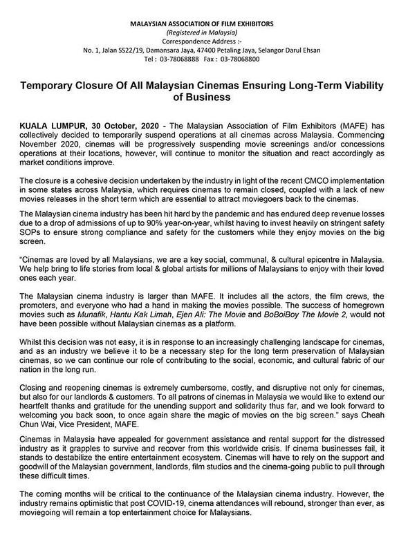 temporary closure cinemas