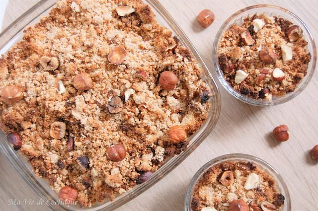 crumble poires noisettes sans gluten sans lactose.