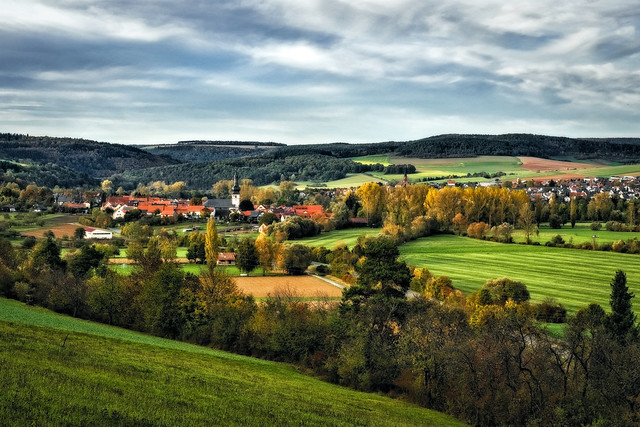 Octoberscape (Hochhausen and Werbach in the Fall)