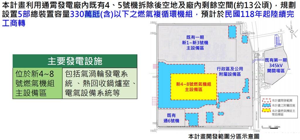 通霄電廠第二期更新改建計畫,將拆除兩座舊機組,增建五座新機組。圖片來源:環評書件