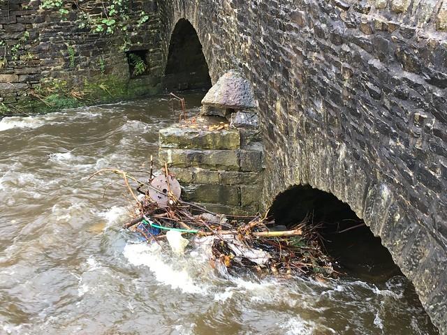 Debris in River Irwell, Rawtenstall