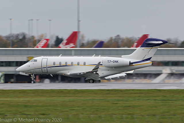 T7-DNK - 2017 build Bombardier Challenger 350, arriving on Runway 23R at Manchester