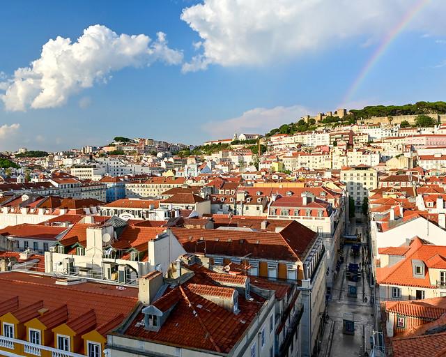 Vistas desde el Elevador de Santa Justa de Lisboa
