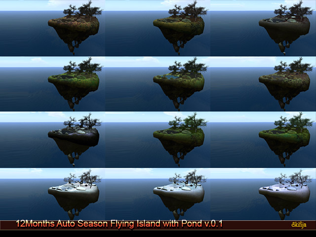 !Skifija 12Months Auto Season Flying Island with Pond