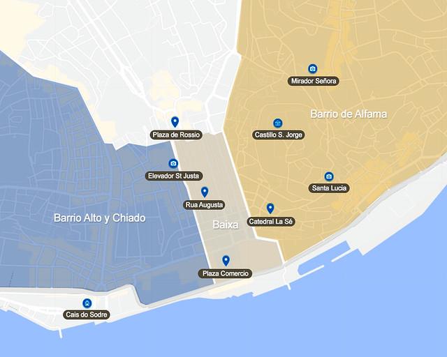 Mapa con las mejores zonas para alojarse en Lisboa