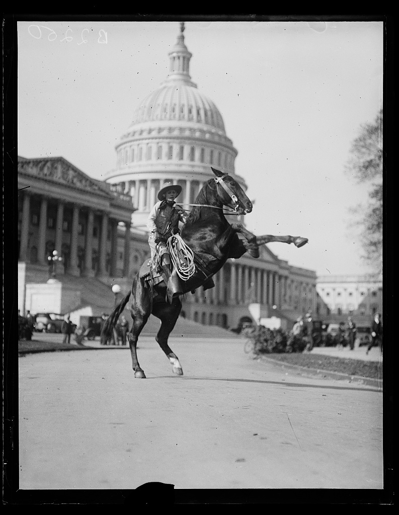 Identified! [Socialite Vonceil Viking, on her horse Broadway, during a trip from New York to Los Angeles, in front of the U.S. Capitol, Washington, D.C.]   (LOC)