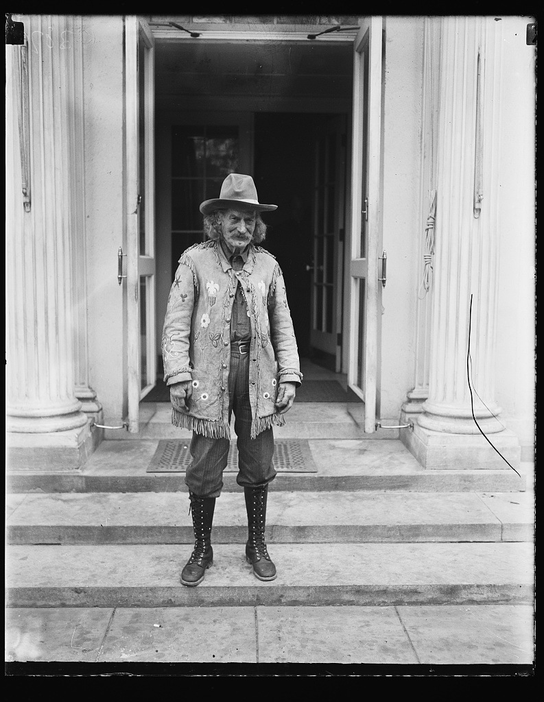 Identified! [Frontiersman Richard Clarke (1845-1930) dressed in Western clothes during a visit to President Calvin Coolidge at the White House, Washington, D.C.]  (LOC)