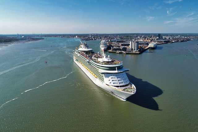 Royal Caribbean's Independence of the Seas departing Southampton UK.