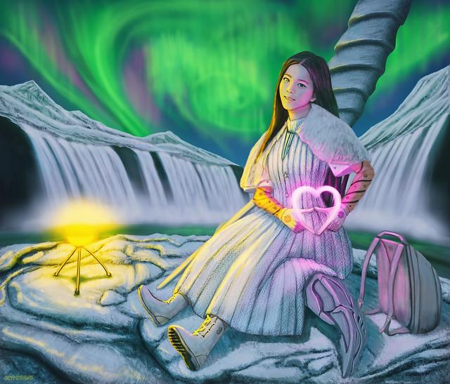 Blackpink Jisoo in ancient Iceland 😮 : You Never Know : Nocturne (Secret Garden) : Light Up The Sky : The Blackpink Alternate Universe series : Digital Drawing