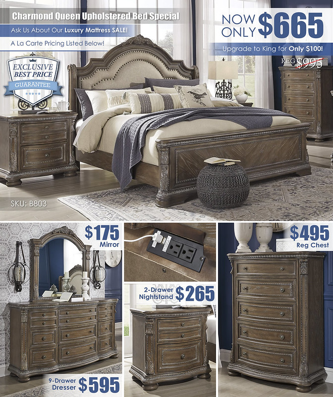 Charmond Brown Upholstered Queen Sleigh Bed A La Carte_B803