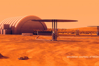 A NASA artist's rendering of Kilopower reactors powering a human habitat on Mars.