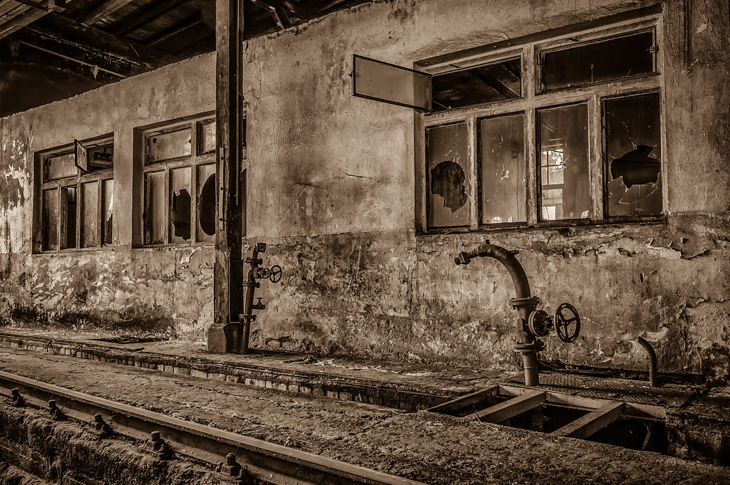 View to the old abandoned workshop - sepia