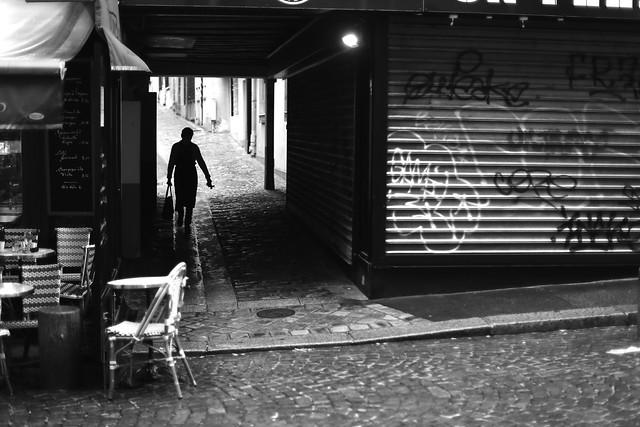 On the deserted street