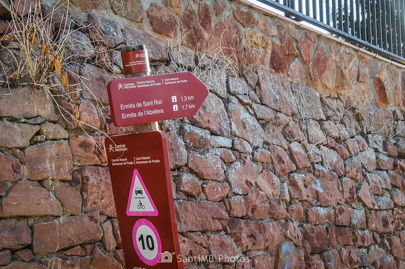 Señal del Camí Natural Muntanyes de Prades