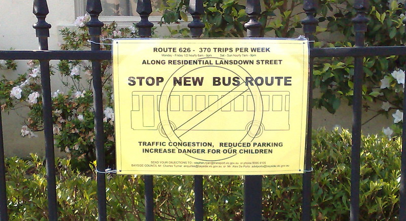 Local campaign to divert planned bus route in Brighton, October 2010