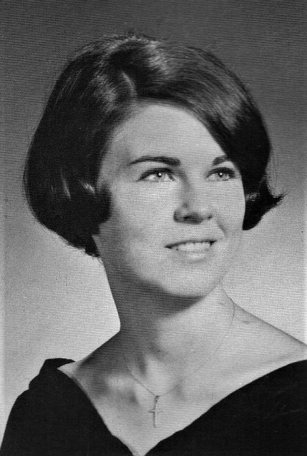 Student with short sassy hair at Archbishop Walsh High School in 1967 Irvington, New Jersey