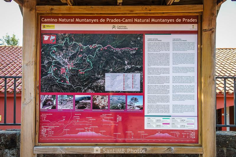 Panel informativo del Camí Natural Muntanyes de Prades