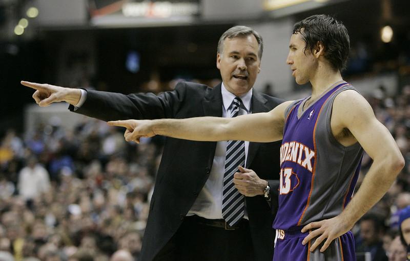 2007年的Mike D'Antoni(左)與Steve Nash(右)。(達志影像資料照)