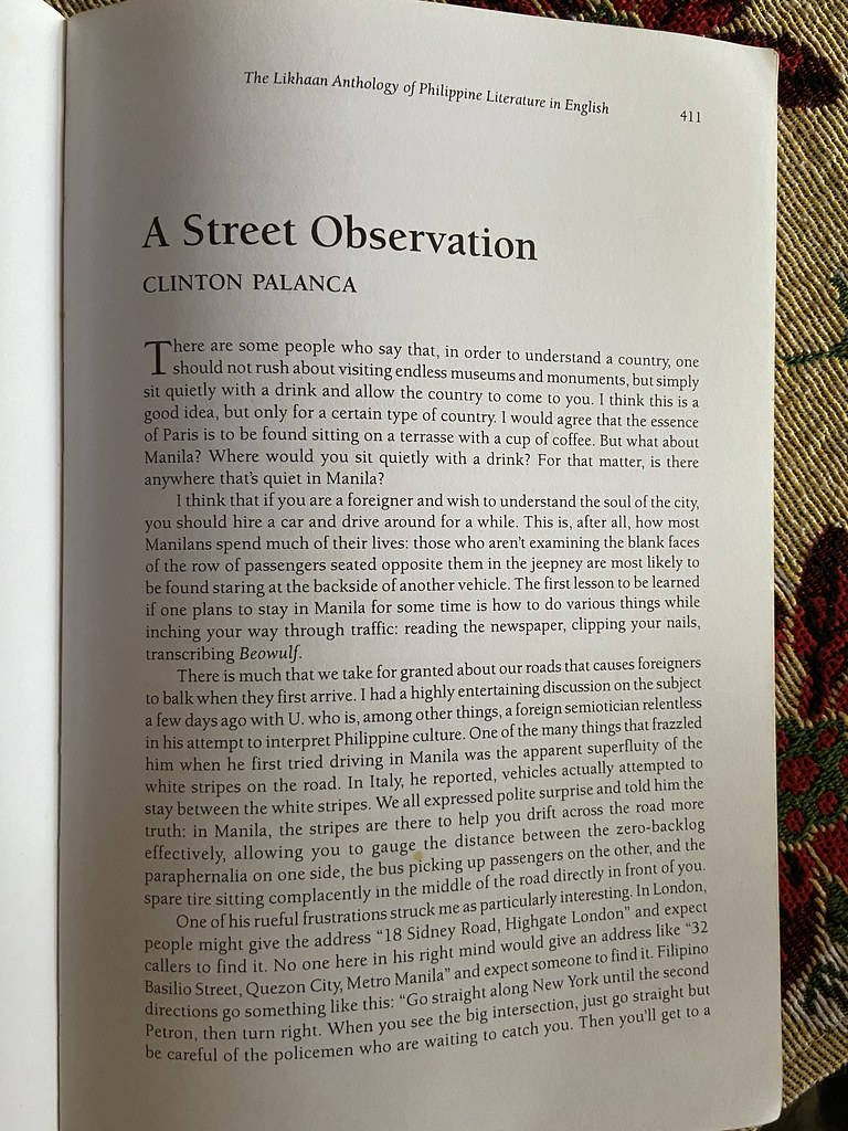 A Street Observation by Clinton Palanca, from the Likhaan Anthology of Philippine Literature in English (1998), Ed. Gémino Abad