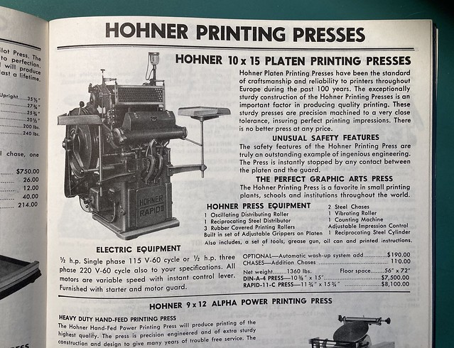Hohner Din A4 Printing Press / AWT listing from 1979