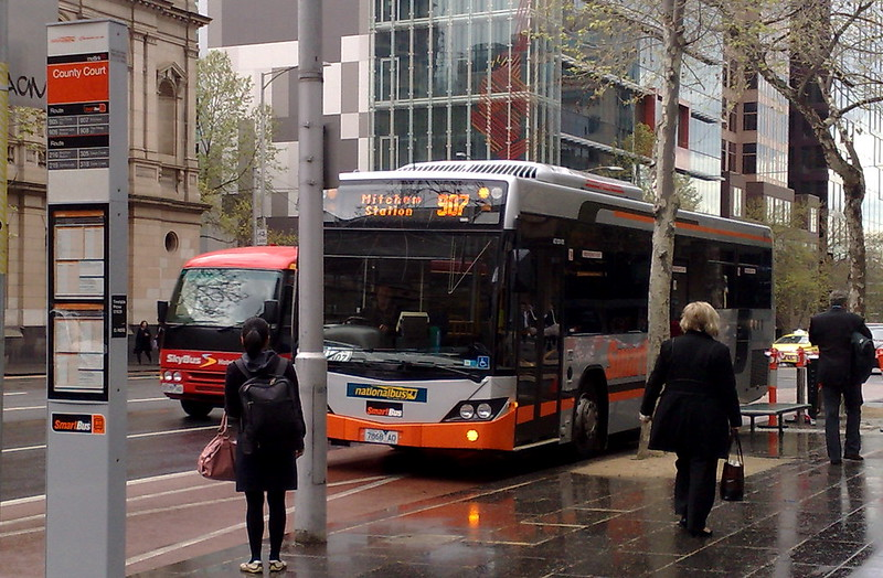 New Smartbus stop outside County Court, Lonsdale Street, October 2010