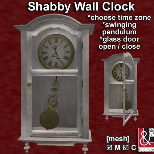Shabby Wall Clock open-closed