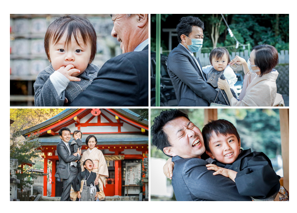 大縣神社で七五三 家族の写真