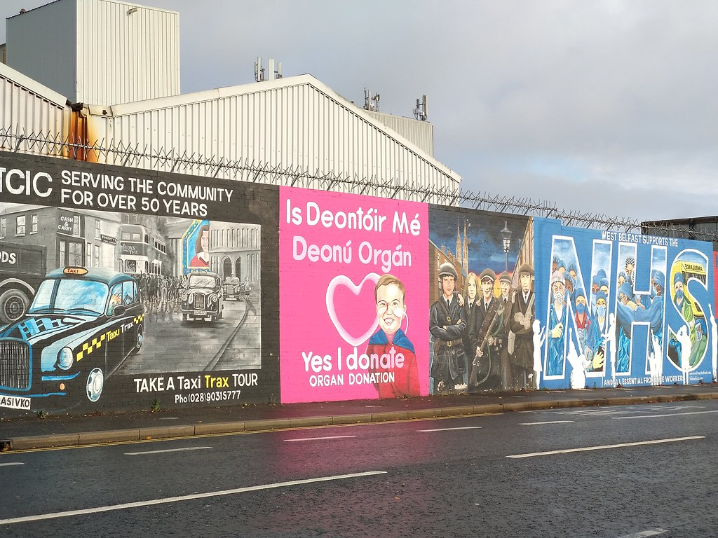 Belfast Peace Walls with topical murals