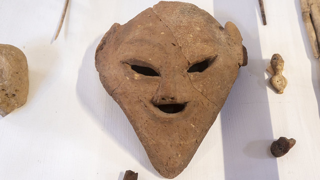 A predynastic ancient Egyptian clay head at the Egyptian Museum of Cairo