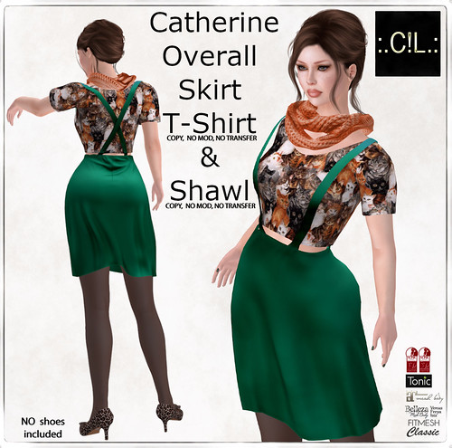 :.C!L.: Catherine Overall Flared Skirt&Shirt & Shawl Set Poster