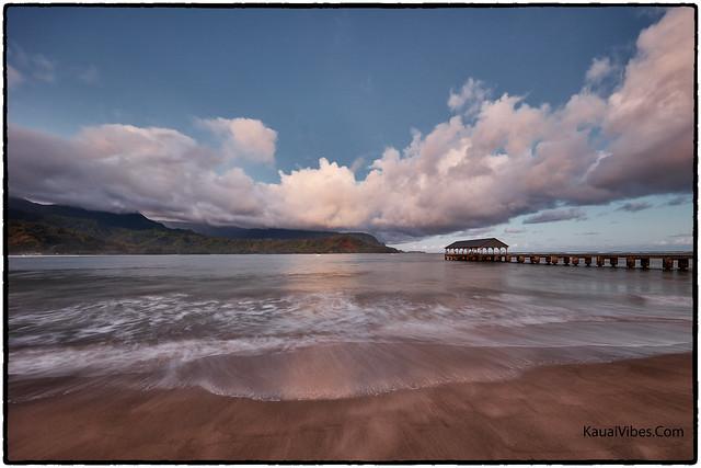 Sunrise, Hanalei Pier, Kauai.
