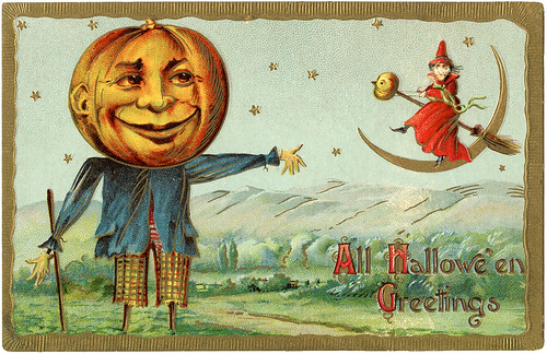 Vintage Halloween Card [Pumpkin Scarecrow and Witch].