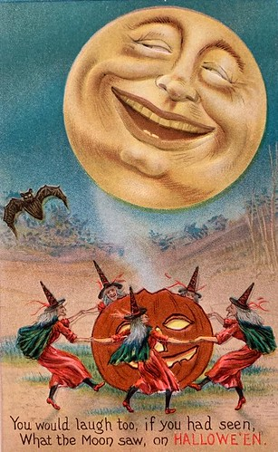"""Vintage Halloween Card, """"What the Moon Saw"""", 1910."""