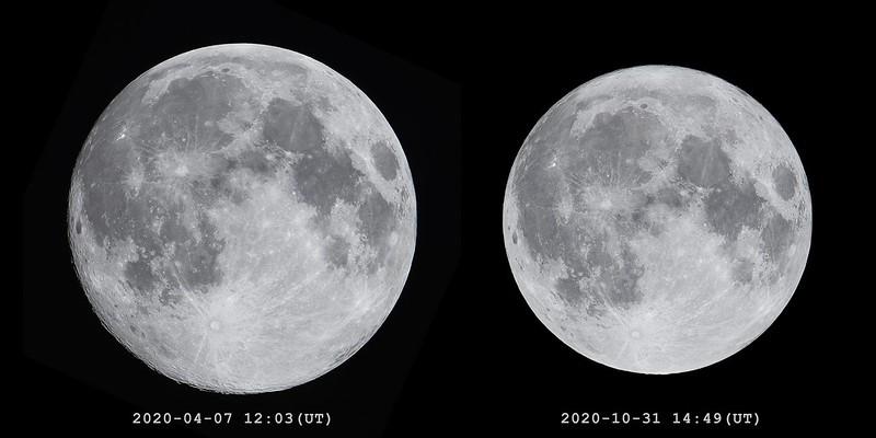 2020年の最近の満月と最遠の満月 (2020/4/7, 2020/10/31)