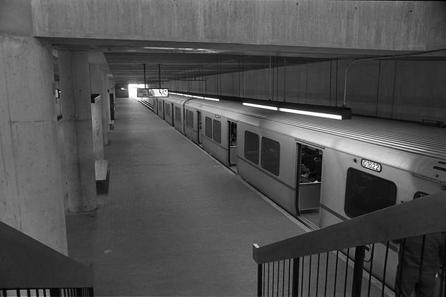 Boston T train, Quincy Center Station, MA