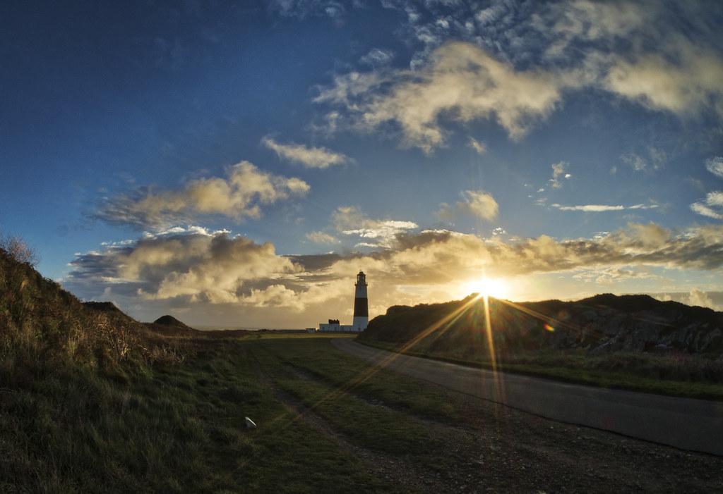 Alderney Lighthouse at dawn