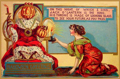 "Vintage Halloween Card, ""Jack-o-Lantern is King"""