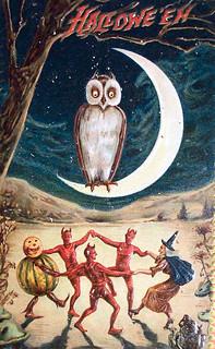 Vintage Halloween Card [owl, moon, and dancing]