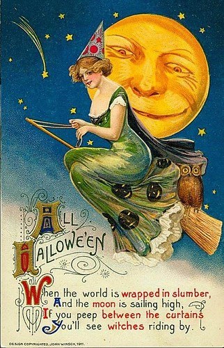 Vintage Halloween Card [pretty Witch and moon]