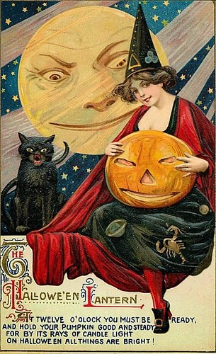 Vintage Halloween Card [pretty Witch, black cat, moon].