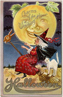 Vintage Halloween Card [Moon, Witch and white cat].
