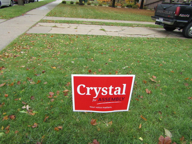 Campaign sign for Crystal Miller, a Republican challenger to Democrat incumbent Tod Ohnstad