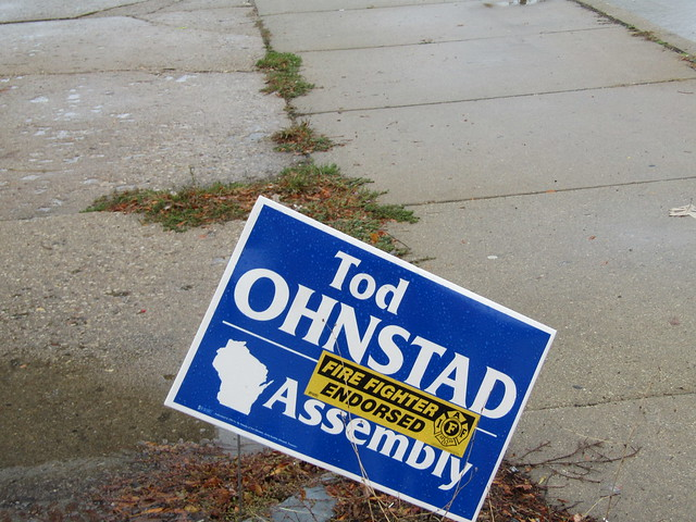 Tod Ohnstad reelection campaign sign (with firefighter endorsement sticker)