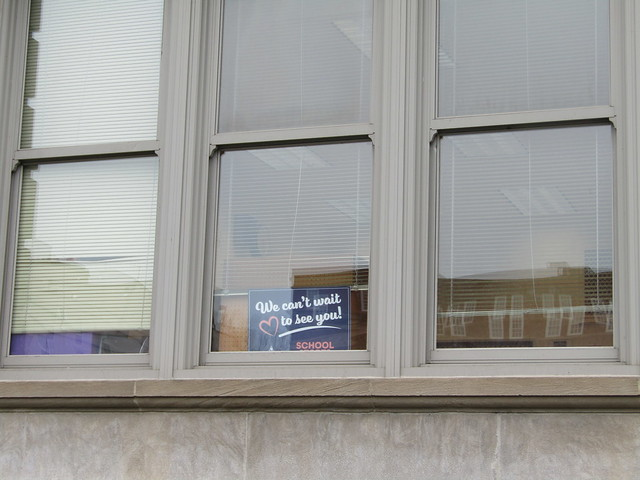 Walter Reuther Central High School - a message on the window